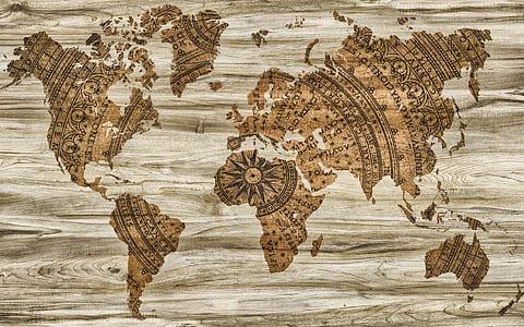 Mapa, papíru, dřevo, informace, pozadí, tvořivost, kompas