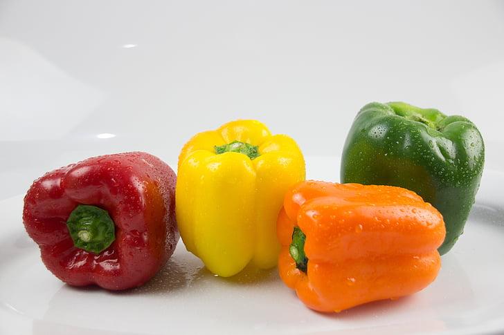 Peppers, grönsaker, köksträdgård, mat, restaurang, kök, röd paprika