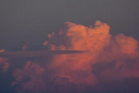 ระบบคลาวด์, ระเรื่อ, สีส้ม, สีแดง, ลัสเมฆ, ลัส, พายุฝนฟ้าคะนอง
