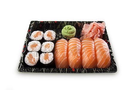 sushi, conjunt, nigiri, Maki, peix, crua, salmó