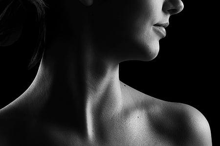 coll, blanc i negre, bellesa, noia, nu, pell, cos