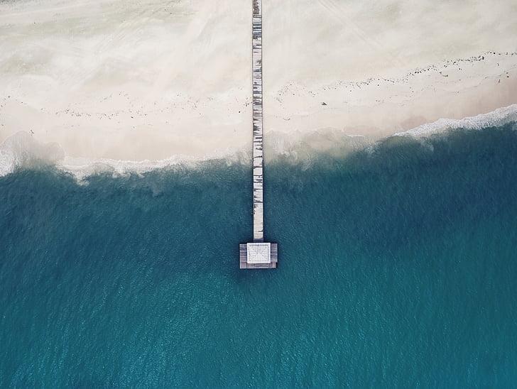 пляж, пташиного польоту, океан, на відкритому повітрі, Пірс, море, берег моря