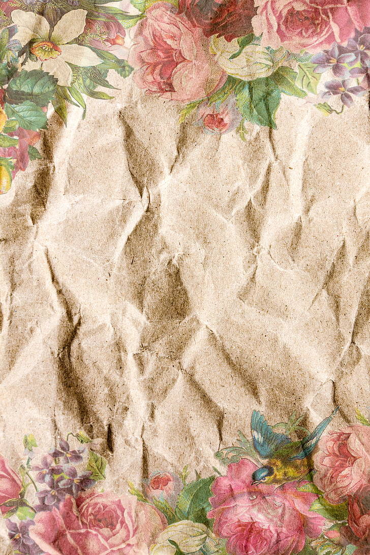 paper, crumpled, vintage, shabby chic, country house style, playful, fold