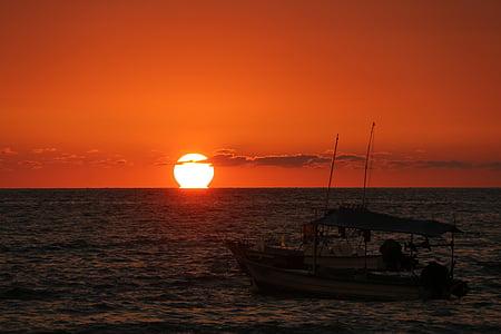 posta de sol Mèxic, posta de sol, vaixell de pesca, oceà posta de sol, oceà, Mar, sol