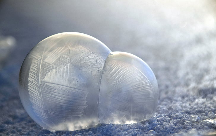 blow, soap bubbles, frosted, winter, blow-frosted, cold, beautiful