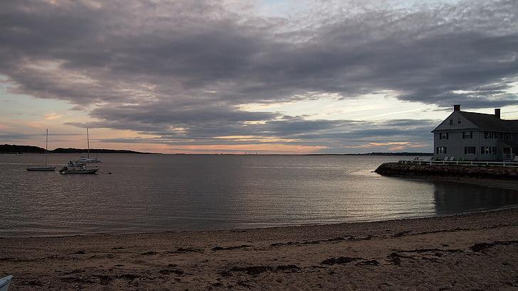 λιμάνι του Hyannis, ΗΠΑ, ηλιοβασίλεμα, ουρανός, abendstimmung, σύννεφα, νερό
