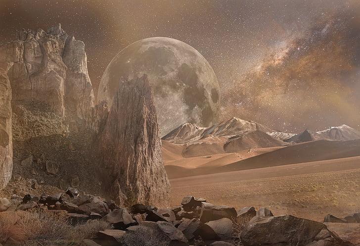 paisagem de fantasia, seca, Marte, deserto, galáxia, planeta, rochoso