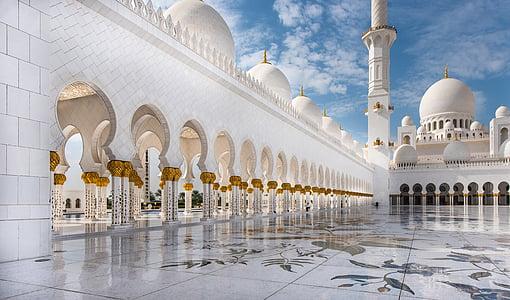 mešita, Abú Dhabí, cestování, bílá, Architektura, Orient, kopule