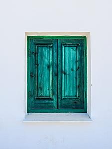 okno, drewniane, zielony, ściana, biały, Architektura, tradycyjne