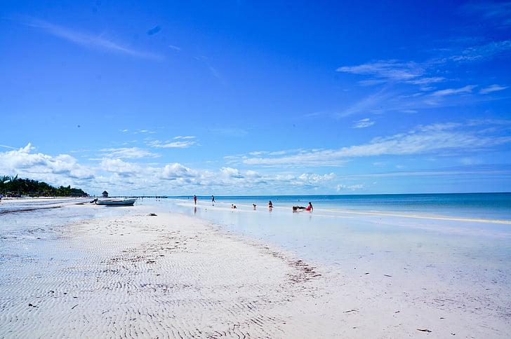 sky, blue, sea, nature, beauty, caribbean sea, beach