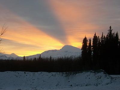 posta de sol, paisatge, muntanya, l'hivern, Wrangell-st elias, Parc i reserva nacionals, Alaska