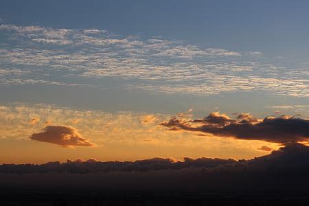 일몰, 구름 형성, 구름, 분위기, 스카이, 저녁 하늘, 잔 광
