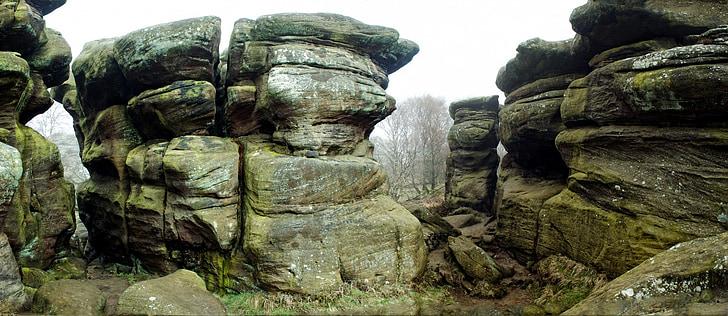 naturen, former, England, brimham stenar, sedimentära, landskap, bildandet