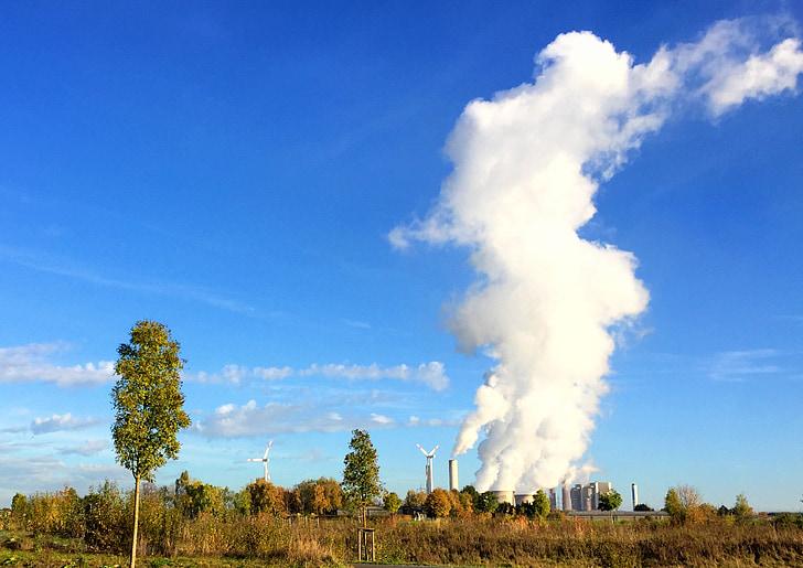 maastik, loodus, kivisöel töötavate elektrijaama, tuuleenergia, taevas, pilved tehase, Steam