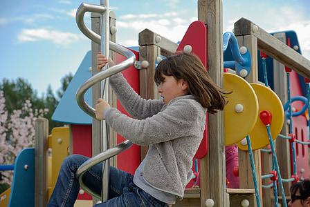 girl, children's games, climbing