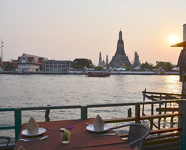 solnedgång, Bangkok, tempel av dawn, middag, romantiska, Asia, Thailand