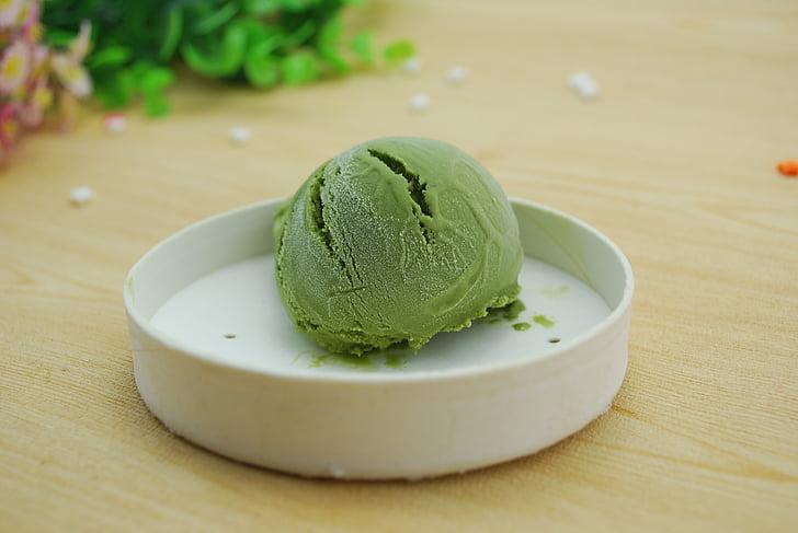 glass, grön, efterrätt