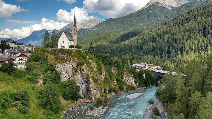 l'església, riu, arbres, muntanya, bosc, Europa, cel