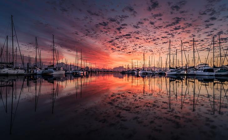 風景, ヨット, 日の出, 雲, 反射, 海, 水