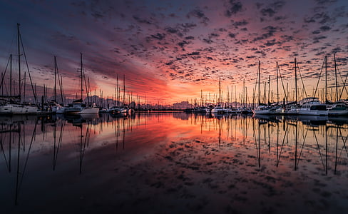 landscape, yacht, sunrise, clouds, reflection, sea, water