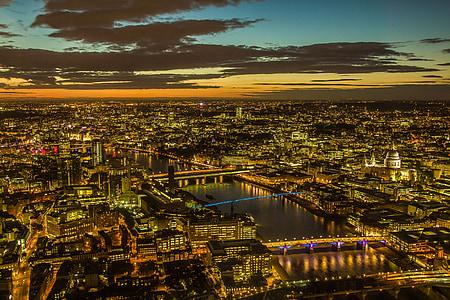 london, panorama, city, night view, cityscape, night, urban Skyline