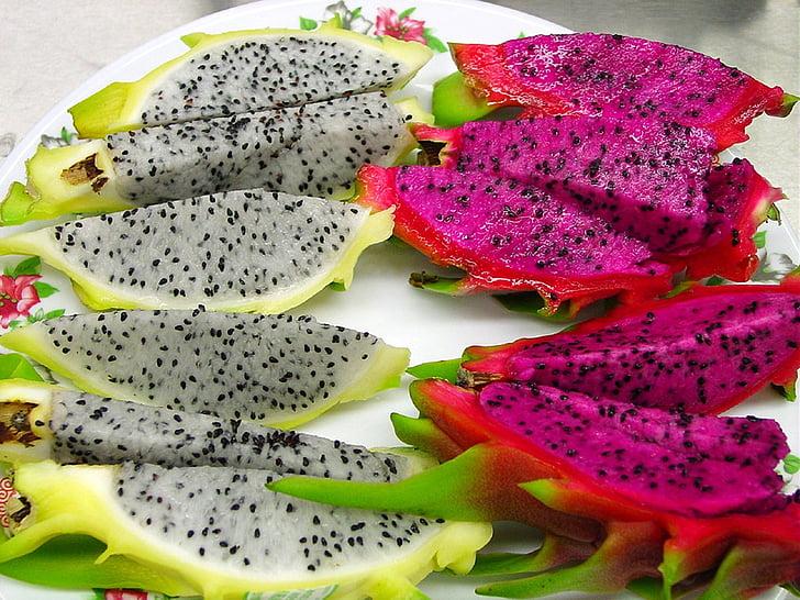 Dragon fruit, vers, tropische, pitahaya 's, voedsel, voeding, segmenten