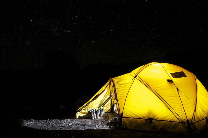 palapinė, stovykla, naktį, žvaigždė, kempingas, ekspedicija, kupolinė palapinė