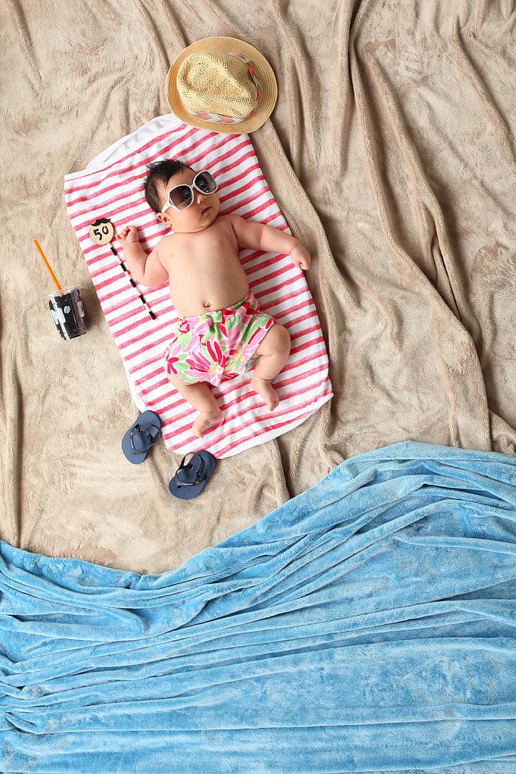 summer, baby, beach, 50 days, it is comfortably, strange, children