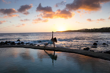 photo, woman, sunset, cloud, ocean, yoga, sunrise