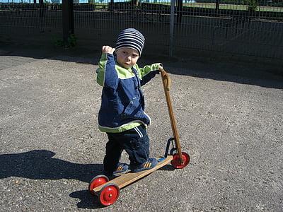 noi, corró, nen petit, músculs, fort, nen, skate