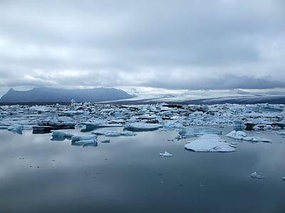 iceberg, lake ice, cold, blue, nature, ice, iceland