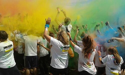 Mu-ních colorrun 2016, Đảng, màu sắc, Lễ kỷ niệm, mọi người, đám đông, vui vẻ