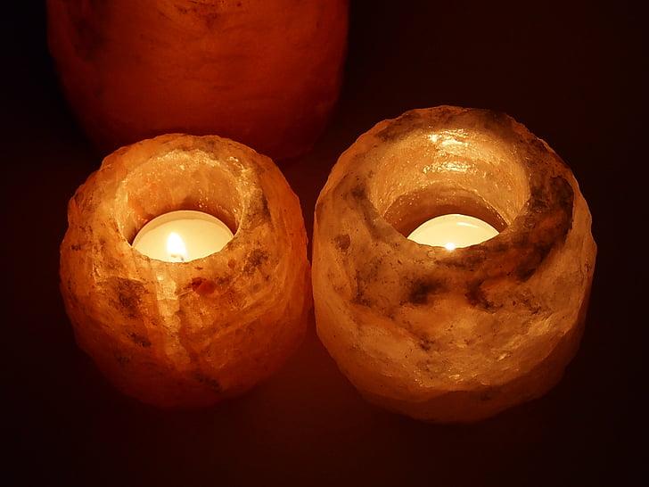 zout lampen, zout, zout kristal, kaars, licht, vlam, brandende kaars