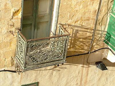 balkonem, stary, cieni, światło, cień, Architektura, okno