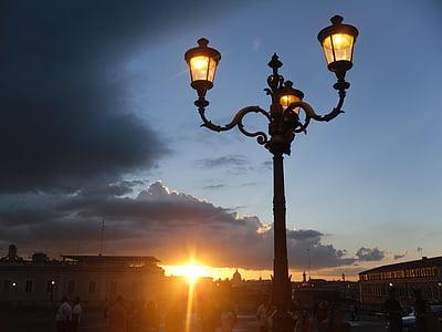 Rom, Italien, solnedgång, skymning, kvällen, Sky, moln