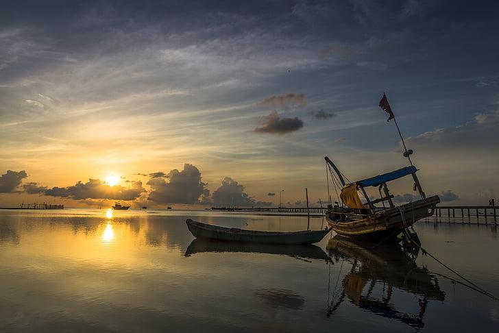 soluppgång, Ham ninh, Phu quoc, ön, Vietnam, landskap, resor