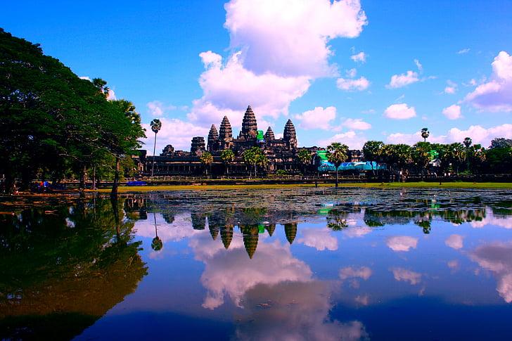 Ankor wat, Kambodscha, Asien, See, Angkor, Wat, Ankor