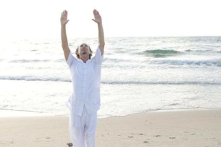 Qigong, tai qi, itämainen, Meditaatio, hyvinvointi, perinteinen, mies