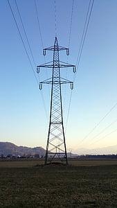 current, power poles, power line, electricity, energy, pylon, technology