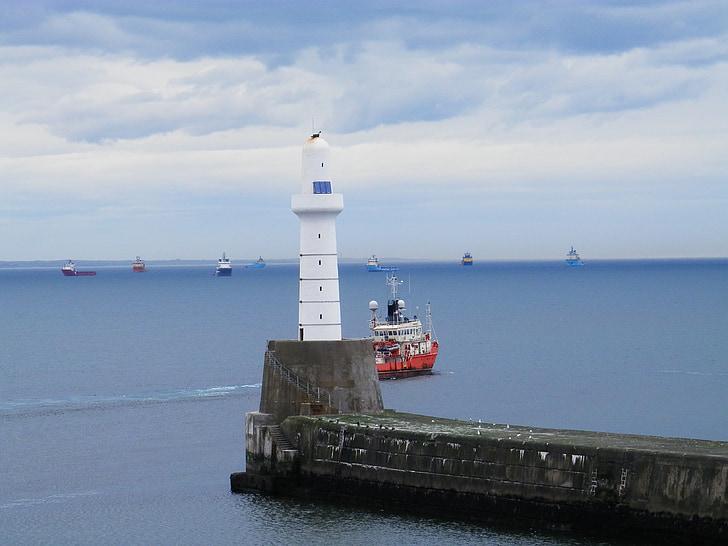 fartyg, havet, Lighthouse, vatten, båt, maritima
