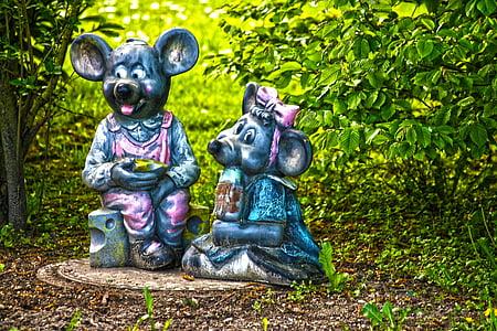 ratolins, decoració, jardí, figura de pedra, gartendeko, Estàtua de jardí, disseny de jardins