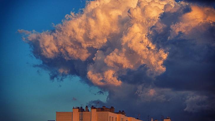 cel, núvols, ennuvolat, paisatge, cel ennuvolat, núvol - cel, blau
