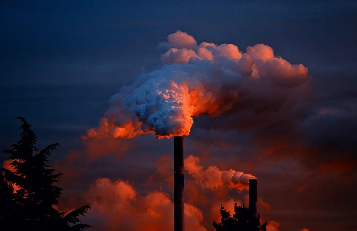 fumée, usage du tabac, cheminée, cheminée, protection de l'environnement, pollution, les gaz d'échappement