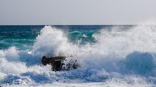 fala, Smashing, Rock, morze, wody, Natura, Splash