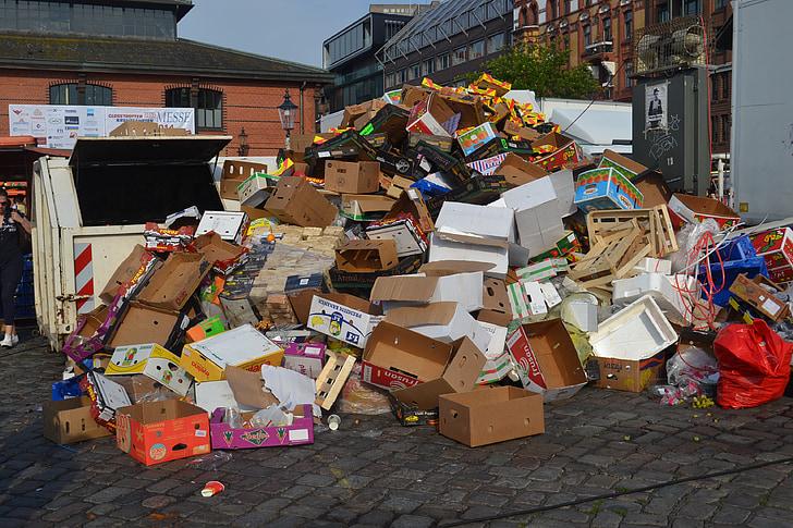 garbage, protection de l'environnement, carton, pollution, marché, montagne de poubelle, élimination