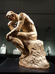 Auguste rodin, skulptur, Tänkaren, konstutställning, konst show, metall, museet