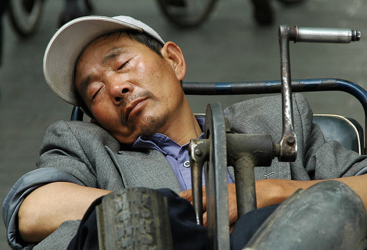 Laki-laki, tidur, Cina, Sepeda, Street, orang