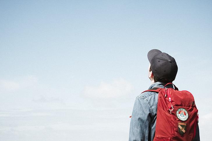 žmonės, vyras, vaikinas, kelionės, kuprinė, atgal, kepurė