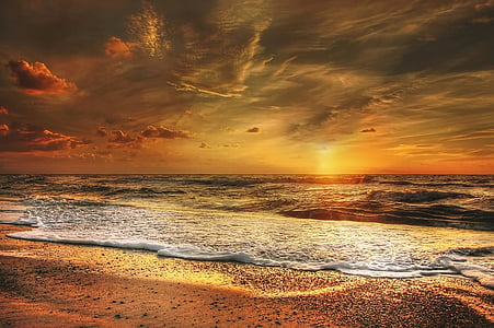 sunset, north sea, sea, abendstimmung, beach, coast, clouds