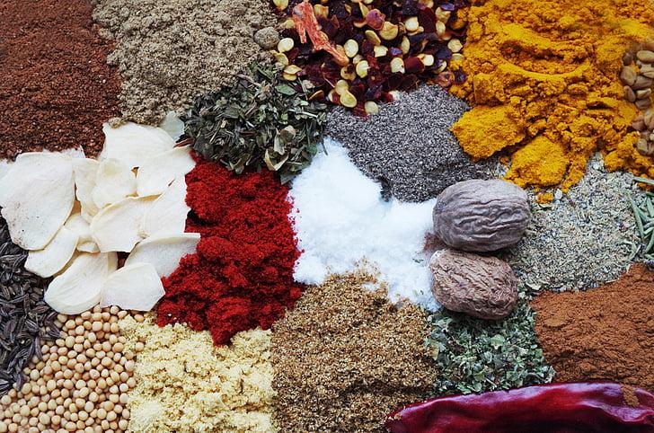 pebre, color, cuina, l'olor de, nou moscada, pebre vermell, cúrcuma